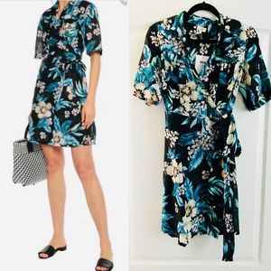 DVF West tropical wrap dress S